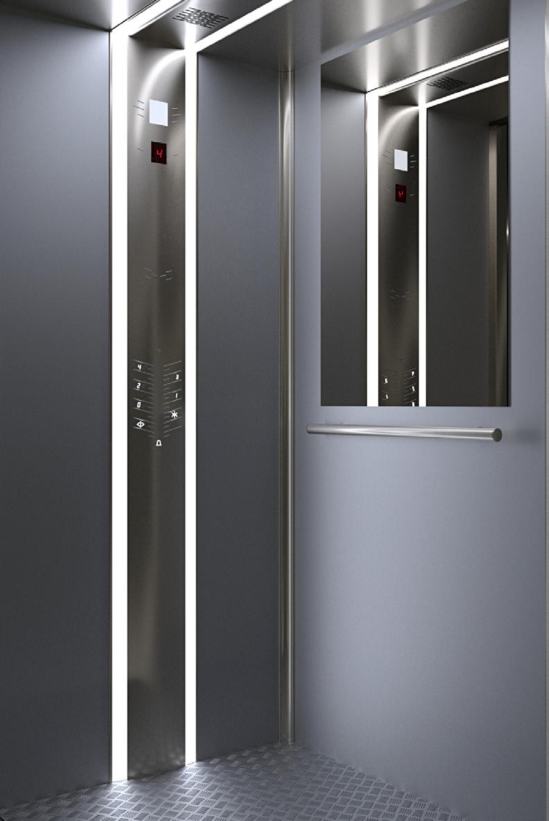 3-d cхема пассажирского лифта Izamet German R. Выполнение кабины и дверей шахты возможно нескольких видов.