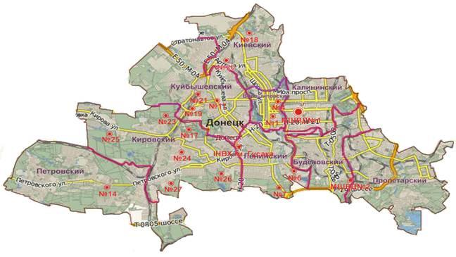 План схема донецка по районам